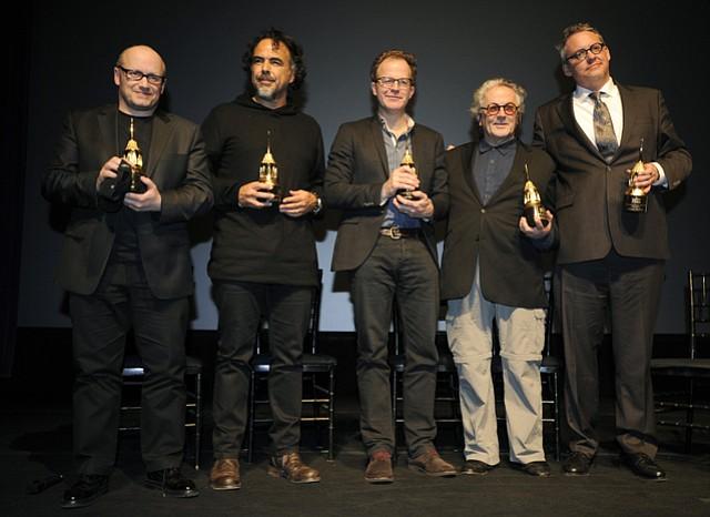 SBIFF 2016 Outstanding Directors Award ceremony with Lenny Abrahamson (<em>Room</em>) (left), Alejandro González Iñárritu (<em>The Revenant</em>), Tom McCarthy (<em>Spotlight</em>), George Miller (<em>Mad Max: Fury Road</em>), and Adam McKay (<em>The Big Short</em>).