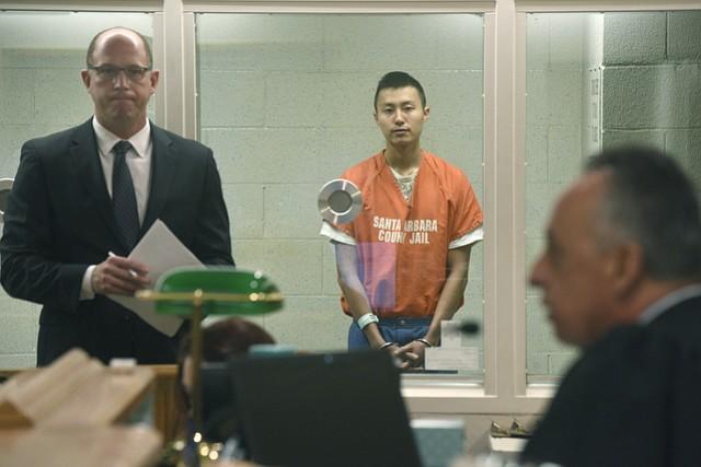Daniel Chen (center) and his defense attorney Adam Pearlman (left) appear before Superior Court Judge Raimundo Montes De Oca (right).