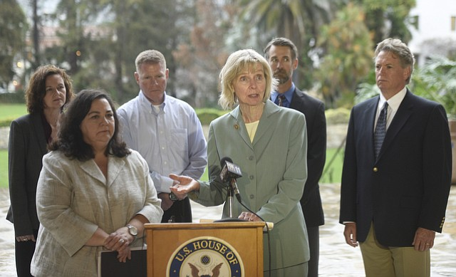 PHMSA's top administrator Marie Therese Dominguez (front left), Congresswoman Lois Capps (center), and officials release the preliminary report Wednesday on the Refugio Oil Spill.
