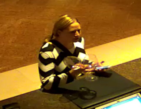 Surveillance footage of the Las Vegas schoolteacher who allegedly stole more than 20 cases of wine from the World of Pinot Noir event on March 4.