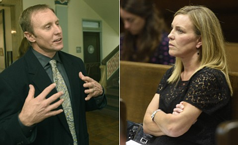 """<strong>HIGH AND DRY:</strong> City water boss Joshua Haggmark (left) was blasted by Channelkeeper's Kira Redmond (right) for being """"disingenuous"""" in desal dealings."""