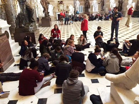 A visit to the nation's Capitol by Santa Barbara eighth-grade students was interrupted by a shooting, in which police shot a man with a gun at the Capitol Complex.