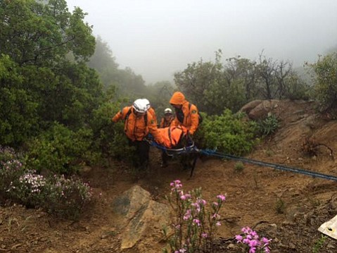 Rescuers this weekend helped a male hiker in his sixties who fell down a mountain Saturday while picking wildflowers near Agua Caliente Canyon.