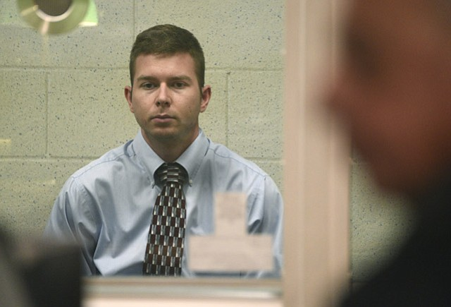 <strong>WAITING:</strong>  Suspect Pierre Haobsh sits for his arraignment, which was again postponed.