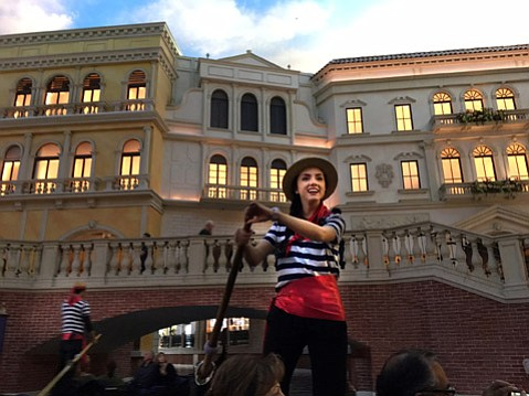 <strong>LITTLE VENICE: </strong> Sheldon Adelson was nowhere to be found, but gondolier Lina gave a tour of the Venetian's replica Piazza San Marco.