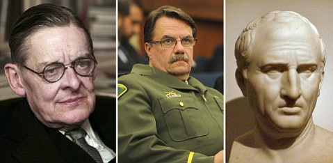<strong>ROUGH RIFFING: </strong> Sheriff Bill Brown (center) managed to quote Roman philosopher Cicero (right) and American poet T.S. Eliot (left) while presenting a sneak preview for his budget.