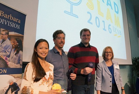The winners of UCSB's 2016 Grad Slam competition, from left to right: grand prize winner Nicole Leung and runners up Geoff Willard from the Bren School of Environmental Science & Management and linguistics researchers Philip Rogers.