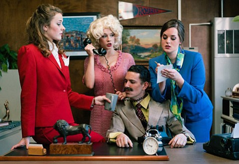 <strong>TIED UP AT WORK:</strong> The cast of 9 to 5 includes (from left) Carly Johnson, Megan Wilson, Ryan Ostendorf (seated), and Bekah Mann.