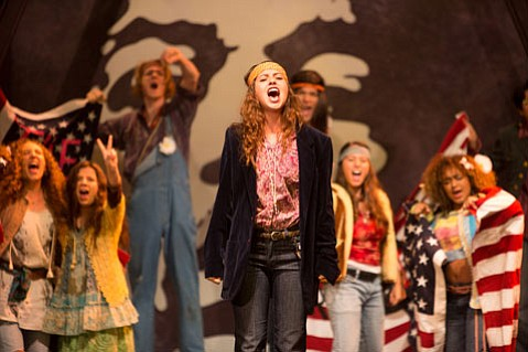 <strong>ROCK AND REVOLUTION:</strong> Lizzie Saunders (center) plays Sheila Franklin in the Santa Barbara <em>High</em> production of Hair.