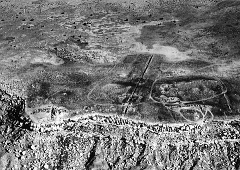 <strong>MASSACRE OR PURIFICATION?</strong> Here's what Awat'ovi looked like from above when Harvard's Peabody Museum team excavated there in 1938.