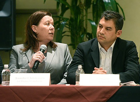 <strong>TOE-TO-TOE:</strong> Assemblymember Das Williams (right) and County Investment Officer Jennifer Christensen (left) trade talking points at a recent debate.