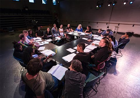 <strong>BRING ON THE NOISE:</strong>  UCSB's Department of Theater students participate in a table read of <em>We Want the Funk</em>, a work in progress by rapper, playwright, and professor Idris Goodwin. The stirring production takes place May 19-27 at Hatlen Theater.