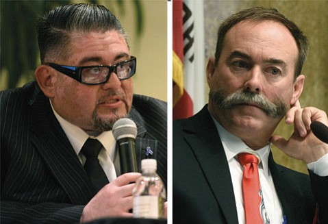 <strong>TWO SIDES, SAME COIN:</strong>  Labor union board president and county Social Services employee Eddie Ozeta (left) is challenging incumbent and Tea Partier Peter Adam in the race to represent the 4th Supervisorial District, encompassing Orcutt, portions of Santa Maria, and Lompoc.