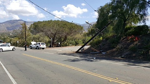 An SUV crashed Sunday morning into a power pole by MacKenzie Park, closing Las Positas Road between Stanley Drive and McCaw Avenue until Monday morning.