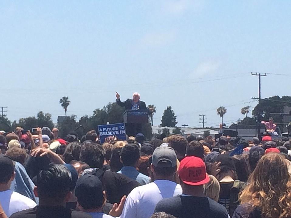 Bernie Sanders visits Ventura College on May 26.