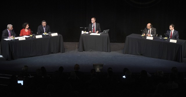 Salud Carbajal (third from left), has outspent his rivals for Congress; here, at a candidates forum in April, are Bill Ostrander (left) and Helene Schneider, and Justin Fareed (right) and Katcho Achadjian, with moderator Jon Bastian of KCRW in the center.