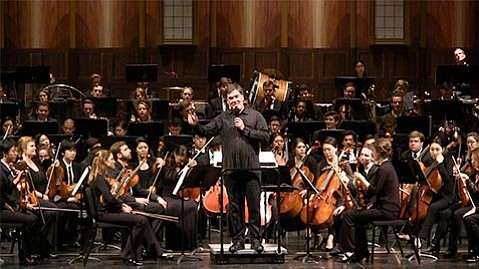 """<strong>ON THE MARCH:</strong> Maestro Alan Gilbert led the Academy Festival Orchestra in two symphonic pieces featuring <em>""""Marsch""""</em> movements, one by Beethoven and the other by Alban Berg."""