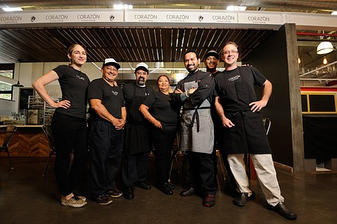 Chef Ramón Velasquez (in apron) and the Corazón team