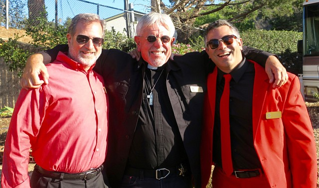 Board President Paul Jaconette, Board Vice President Father Jon Stephen Hedges, and Dr. Jason Prystowsky, Medical Director and Board Member at Doctors Without Walls=Santa Barbara Street Medicine's Glow in the Park event.