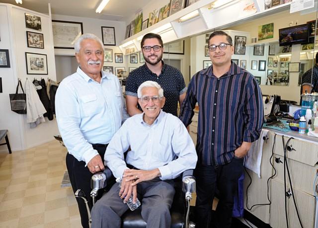 <b>Montecito BarberShop Quartet:</b> (From left) Steve Hirata, TimSanchez, Juan Mendez, and original cofounder Jess Martinez (seated).