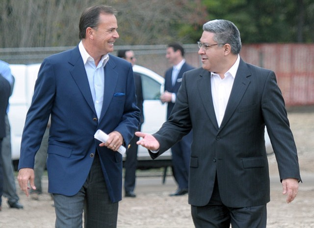 Rick Caruso (left) and Salud Carbajal