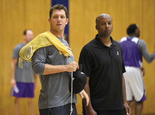 <b>NEW ERA: </b> Coaches Luke Walton (above left) and Brian Shaw stressed teamwork at UCSB last week in training camp.