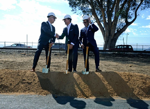 From left to right, Luigi Romaniello, managing director of the Rosewood Miramar Beach Montecito, Rick Caruso, and Radha Arora, president of Rosewood Hotel & Resorts