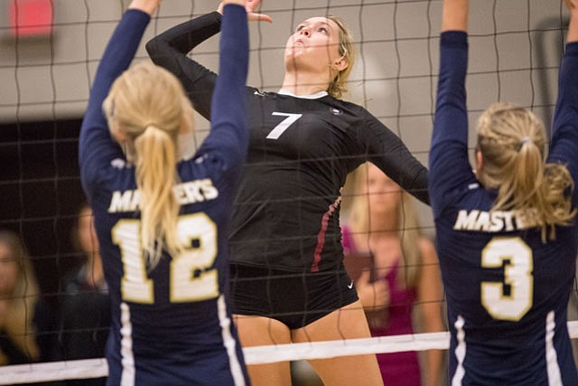 Junior hitter Taylor Beckman is averaging almost 10 kills a match.
