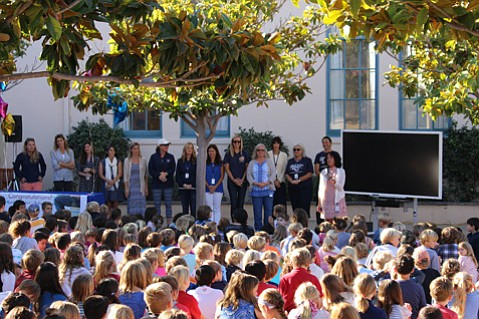 <b>MINDFUL MASSES: </b> The Montecito Union School student body gathers with administrators and teachers to accept accolades from the Institute for Habits of Mind.