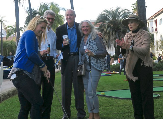 Board member Olivia Marr (putting) with her team, Buynak, Fauver, Archbald & Spray, LLP.