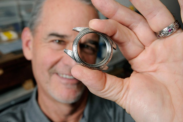 <b>METAL MASTER: </b>David Sheehan creates intricate and whimsical designs for everything from rings to knives in his Mission Canyon home studio.