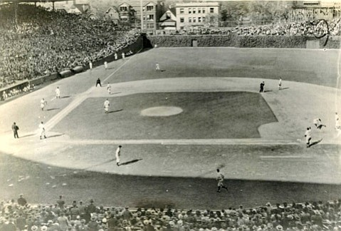<b>WRIGLEYVILLE: </b> National League play-offs started this year at the Cubs'  Wrigley Field, seen here in the 1945 Series with the Detroit Tigers.