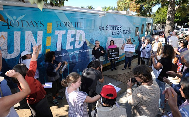 """<b>RIDING THE WAVE: </b>David Bereit, pictured here addressing a crowd of supporters, said California is """"leading the way for the pro-life movement."""""""