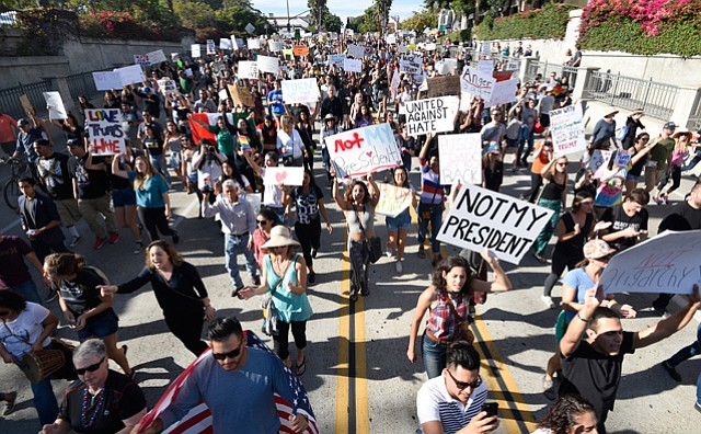 Hundreds gather to march in protest to Donald Trump's election (Nov. 12, 2016)