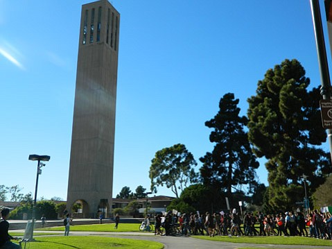 Students at UCSB joined all UCs in protesting a tuition hike for next year.