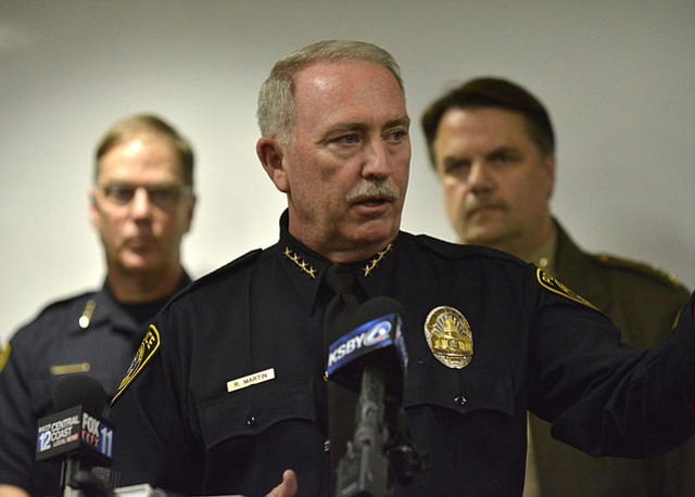 Santa Maria Police Chief Ralph Martin speaks to reporters about Operation Matador
