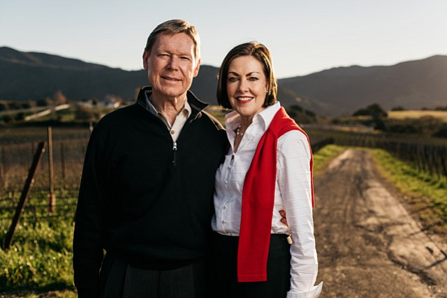 <b>GLOBAL ACCOUNTING TO FINE WINE: </b> After a career of globe-trotting as CEO of Ernst & Young, Bill Kimsey settled down in Santa Barbara with his wife, Nancy Kimsey, and planted a vineyard on the southern edge of Ballard Canyon.