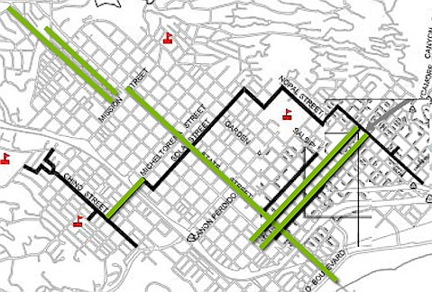 This map shows current bike lanes (in green) and where new bike lanes will be built (in black).