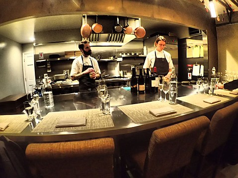 <b>INTIMATE DISPLAY: </b> Six Test Kitchen guests get to watch Chef Ricky Odbert right up close and ask questions all night long.