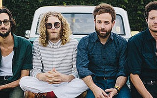 <strong>LYRICAL BARD DUDES:</strong>  Taylor Goldsmith (second from right) is the lead singer and songwriter of the L.A.-based band Dawes.