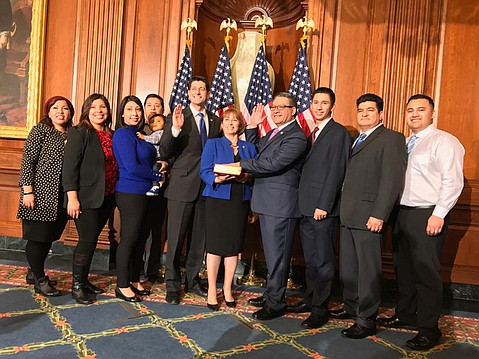 <b>IN THE HOUSE: </b>Salud Carbajal (fourth from right) was sworn in as Representative for California's 24th