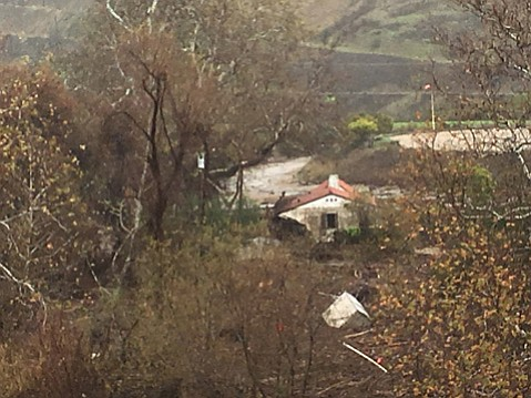 A damaged adobe in Corral Canyon