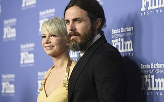 "Casey Affleck and Michelle Williams at the Arlington Theatre to receive the 2017 SBIFF Cinema Vanguard Award for ""Manchester by the Sea."""