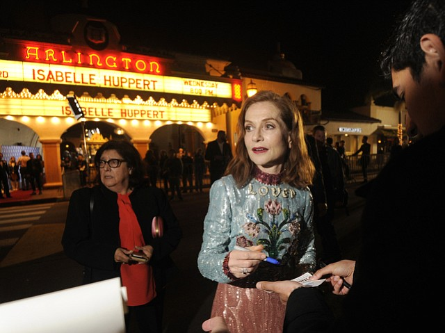 Isabelle Huppert arrives at the Arlington Theatre to receive the 2017 SBIFF Montecito Award