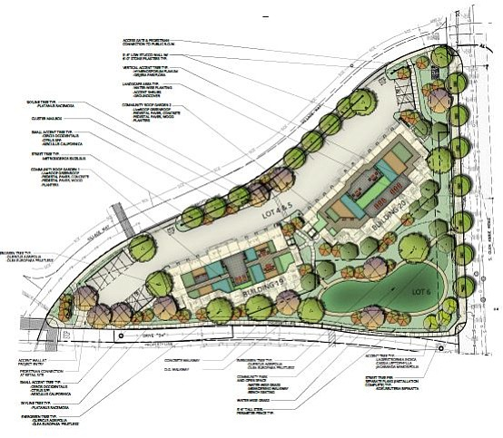 Westar/Hollister Village triangle site with gardens atop the two buildings
