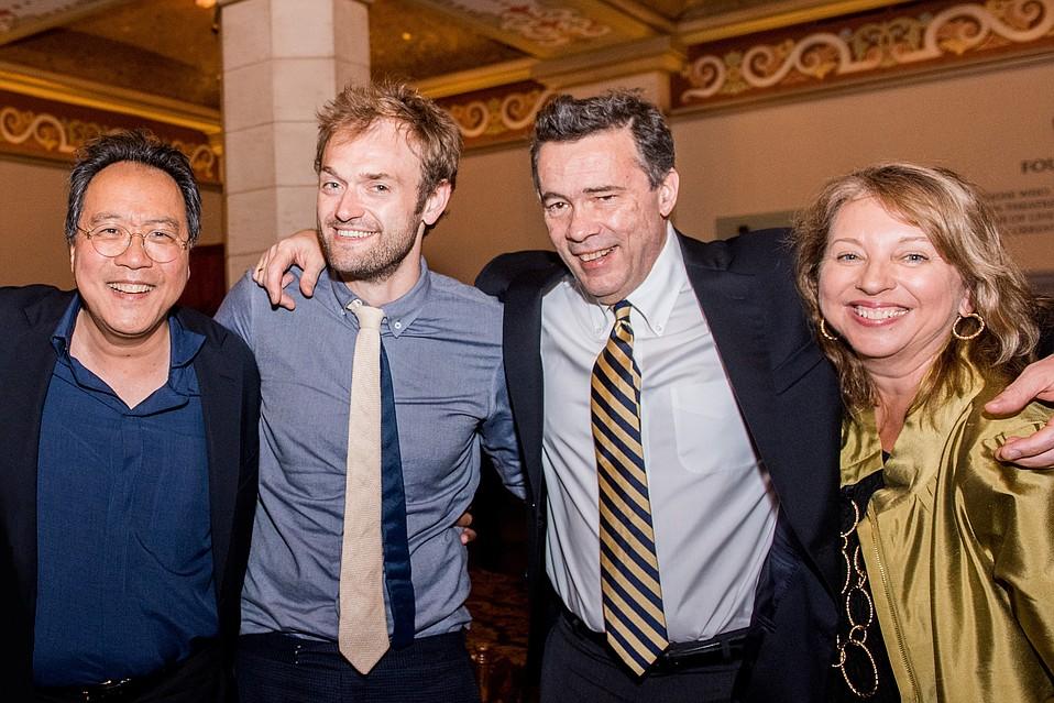 Yo-Yo-Ma, Chris Thile, Edgar Meyer, and Executive Director Celesta Billeci.