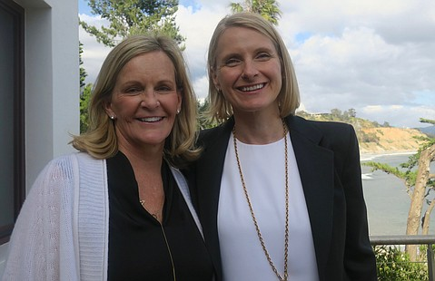 Host Lauren Booth and Elizabeth Gilbert.
