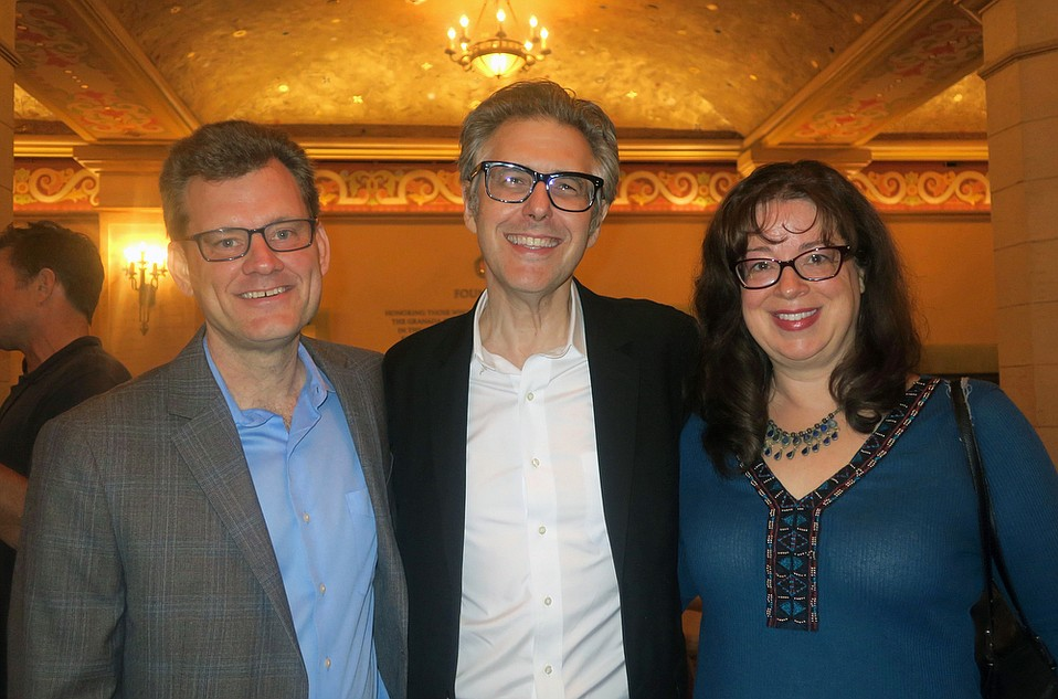 Ira Glass (center) with UCSB Dean of Humanities and Fine Arts John Majewski and his wife, UCSB Associate Professor of History Lisa Jacobson.