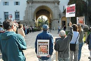 Anti-News-Press demonstration at the Santa Barbara Courthouse