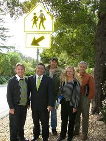 Caltrans, Supervisor Salud Carbajal, and others on the Sycamore Canyon Road walking tour.